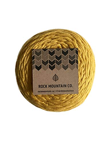 4mm Gold Macrame Cord/Extra Soft Cotton Mustard Yellow Knotting Rope (Mustard Soft Yarn)
