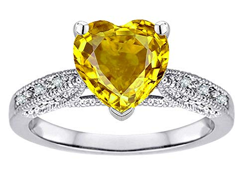 Star K Heart-Shape 8mm Genuine Citrine Antique Vintage Style Solitaire Engagement Promise Ring 10k White Gold Size 5