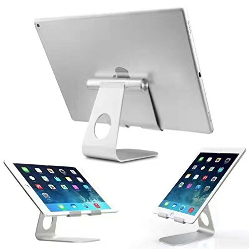 Tablet Stand, FACEVER iPad Stand, Universal Aluminum Desktop Holder Stand Dock for New iPad 2017 Pro 9.7, 10.5, Air 2 3 4 mini, Kindle, Samsung Tab, Smartphones, Tablets -Silver