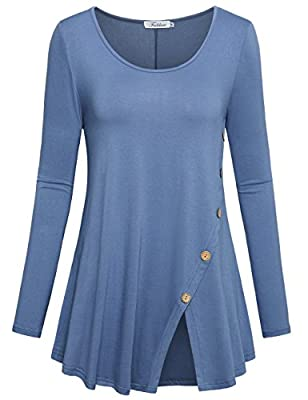 Faddare Women's Casual Comfy Long Sleeve Split Blouse Tunic Shirt with Buttons