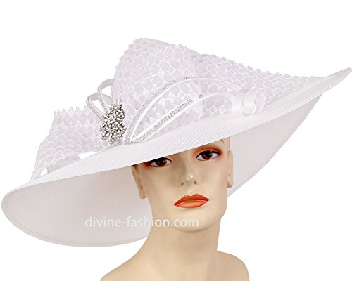 Ms. Divine Collection Wide Brim Womens Kentucky Derby Hat, Church Hat, Dressy Formal Hats #5082 (White) by Ms. Divine Collection