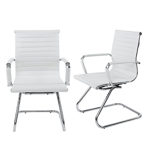 Low Back Guest Chair - Wahson Heavy Duty Leather Office Guest Chair Mid Back Sled Reception Conference Room Chairs (Set of 2, White)