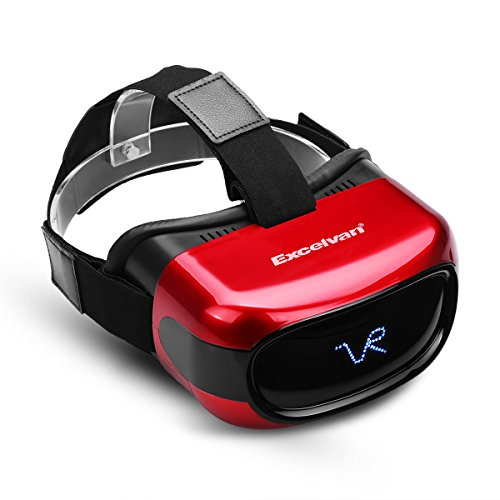 Excelvan A5026 All in One HD 3D VR Virtual Reality Headset Glasses Video Movie Player with Android 5.1 System Headphone TF Card 8GB, Support Wifi Bluetooth (Red)