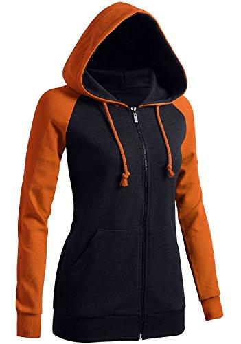 (CLOVERY Women's Sport Long Sleeve Zipup Hoodie Orange US S/Tag S)