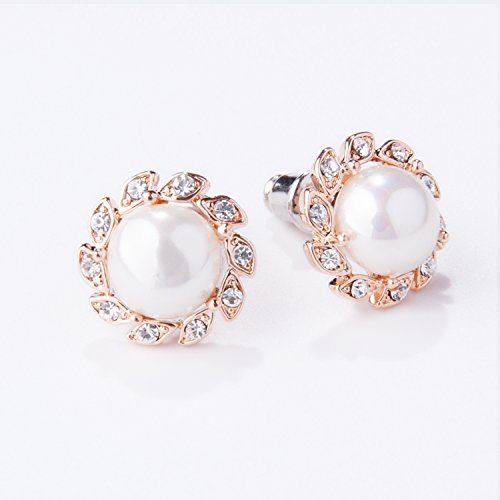 Gold Plated Zirconia Pearl Ball Round Button Stud Earrings