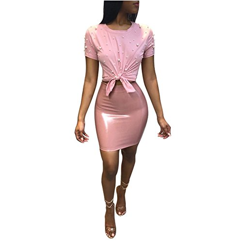 - Women 2 Piece Outfits Clubwear Beading Pearls Top with Short Bodycon PU Skirt Set S