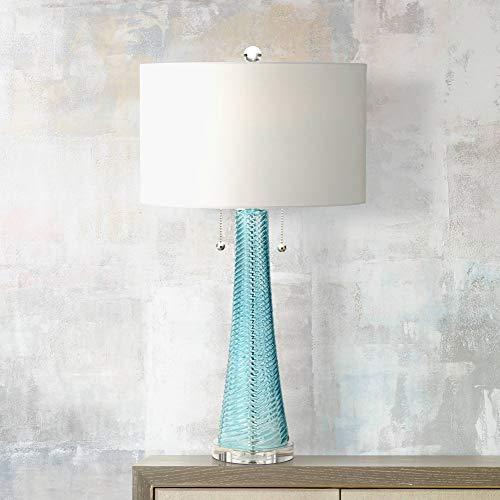 Miriam Modern Table Lamp Light Aqua Blue Textured Glass White Drum Shade for Living Room Family Bedroom Bedside - Possini Euro Design Aqua Glass Table Lamp