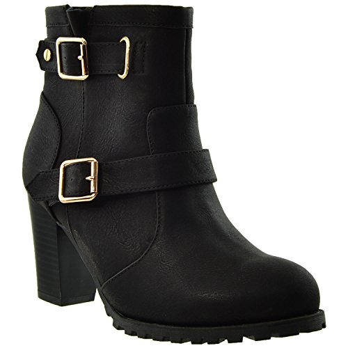 KS & CO Womens Ankle Boots Adjustable Gold Buckle Strap Stacked Chunky Heel Booties KSC-WB-A20