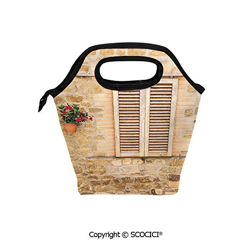 (Reusable Insulated Lunch Bags with Pocket Rustic Stone House and Window Shutters Flower Pot on Wall Italian Country Home Theme for Adults Kids Boys Girls.)