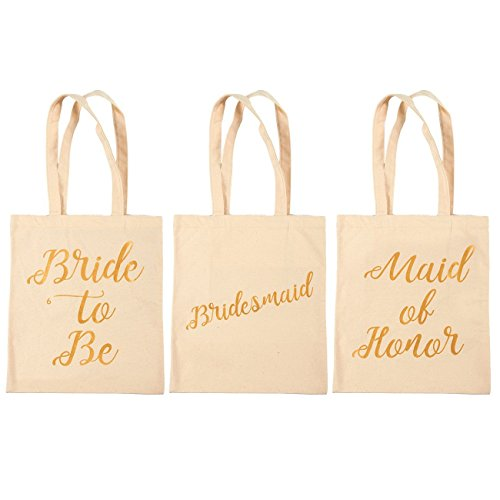 Bridal Shower Canvas Tote Bag - 5-Pack Reusable Shopping Bags for Wedding Favors, Bachelorette Party Gifts, and Bridal Shower Accessories 13.5 x 12 Inches by Blue Panda (Image #6)
