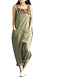 Women's Casual Jumpsuits Overalls Baggy Bib Pants Plus...