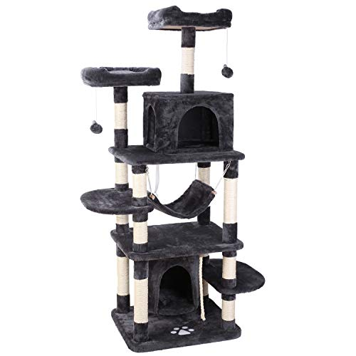 POTBY 67' Multi-Level Cat Tree Play House Climber Activity Centre Tower Stand Furniture, with Scratching Posts, Hammock, Dangling Ball and Condo, Anti-toppling Devices, Suit for Kittens, Cats and Pet
