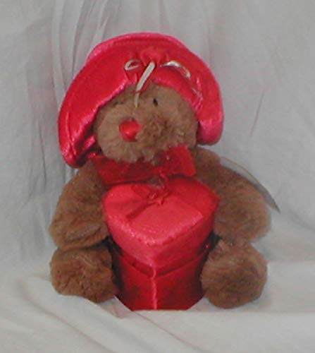 (Victorian Soft Beautiful Valentines Bear with Velvet Hat Holding Red Velvet and Satin Heart Box )