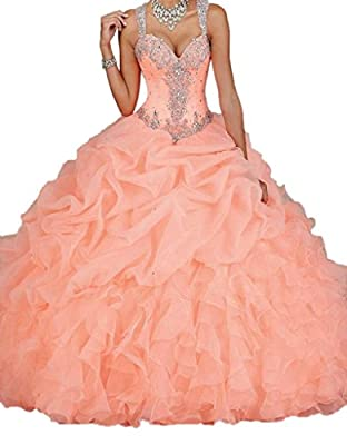 Ikerenwedding® Women's Straps Bead Pearls Sheer Back Ball Gown Quinceanera Dress