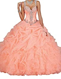 Ikerenwedding Women\'s Spaghetti Beading Pearls Sheer Back Ball Gown Quinceanera Dresses Coral US26W