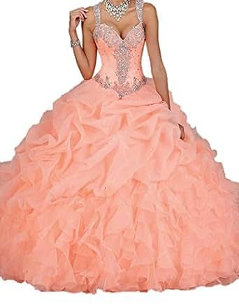 Ikerenwedding Women's Spaghetti Beading Pearls Sheer Back Ball Gown Quinceanera Dresses Orange US04