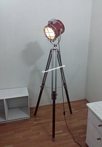 h device) CLASSICAL LEATHER SEARCHLIGHT SPOTLIGHT WITH BROWN TRIPOD STAND LAMP ()