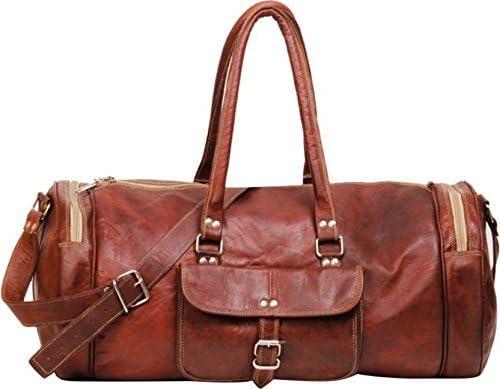 3840867e15e4 Goatter Unisex Leather Round Duffel Bag (22X11X11