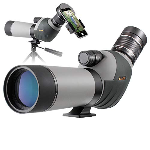 Landove 20-60x62 Zoom Spotting Scope - HD 24mm BAK4 Angled Big Eyepiece Dual Focus Telescope Digiscoping Adapter - Waterproof Scope for Bird Watching Wildlife Target Shooting Hunting