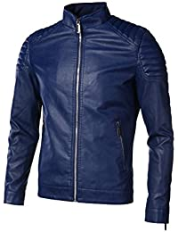Men's Slim Fit Faux-Leather Jacket