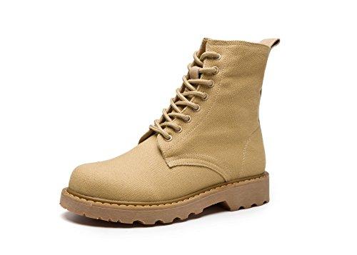 BalaMasa Womens Low-Heel Mid-Calf Flatform Lace-Up Fabric Boots ABL09821 Yellow