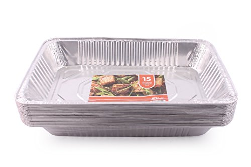 JETfoil Aluminum Foil Steam Table Pans, Full Size Deep, Pack of 15, Roaster pans