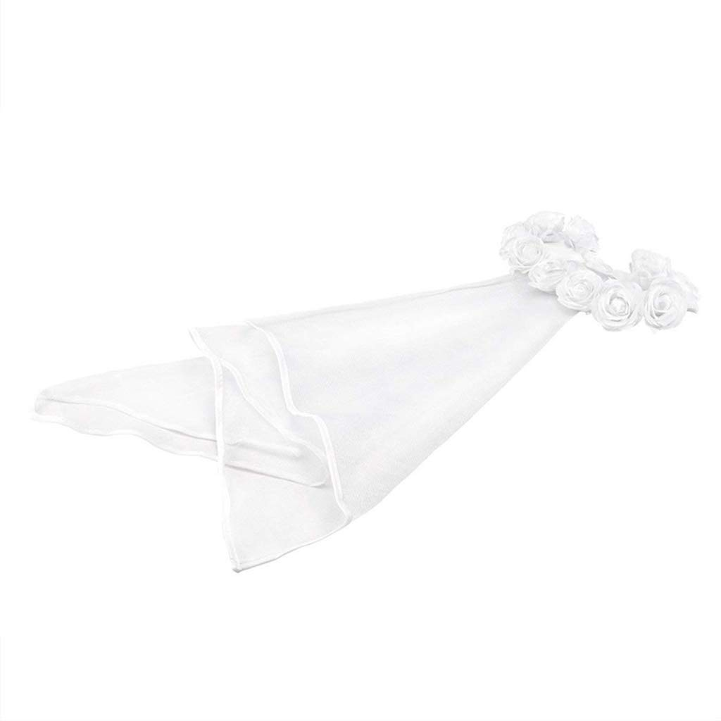 kinmyte Women Bridal Flower Hair Wreath with White Veil Garland Wedding Headband Crown Adjustable Lace Up Ribbon Bachelorette Party Accessory White-Gauze Length:76cm//29.92in 1 Piece