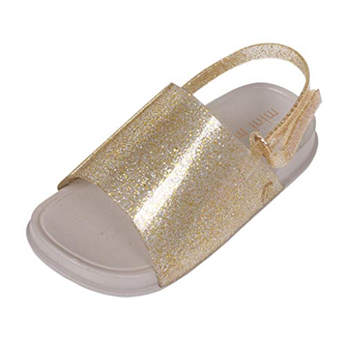 (AHAYAKU Toddler Infant Kids Baby Girls Boys Slippers Beach Slides Soft Shoes Sandals Gold)