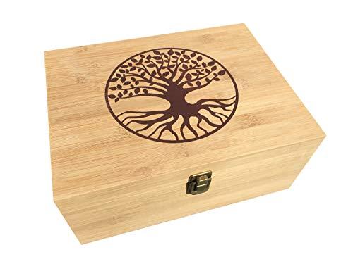 Large Natural Bamboo Wood All-Purpose Cigar Storage Medicine Stash Box (Tree of Life)