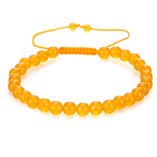 Gemstone Yellow Bracelet (BRCbeads Gemstone Bracelets Yellow Jade Enhance Color Natural Gemstone Birthstone Healing Power Crystal Beads Handmade 6mm Stretch Macrame Adjustable Loose Beads With Gift Box Unisex)