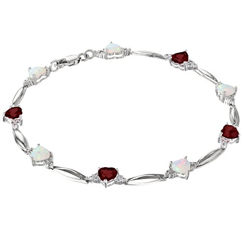 2 Ct Garnet Bracelet - 5MM Heart Opal and Garnet .01 cttw Diamond Sterling Silver Bracelet