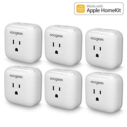 Koogeek Smart Plug, WiFi, for Apple HomeKit with Siri, Electronics Controller on 2.4Ghz Network (6 Packs)
