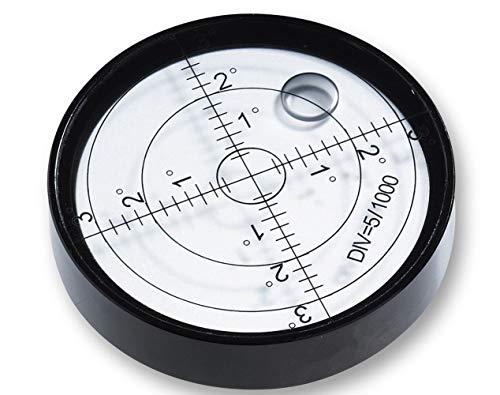 Ubei Aluminium Case Precision Round Bullseye Bubble Level Spirit Bubble Surface Level Inclinometers for Surveying Instruments and Tribrachs, Ø60mm,Accuracy 15'/2