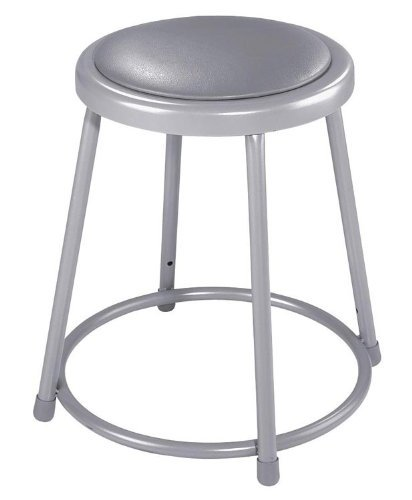 National Public Seating 6424 Grey Steel Stool with 24'' Vinyl Upholstered Seat by National Public Seating (Image #2)