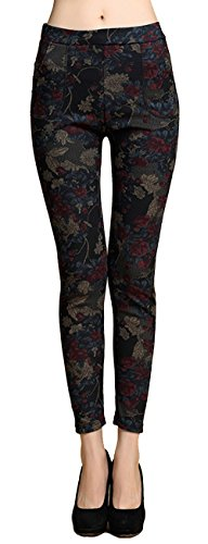 Allonly Women's Winter Printed Super Warm Velvet Thick Thermal Leggings Pencil (Super Velvet)
