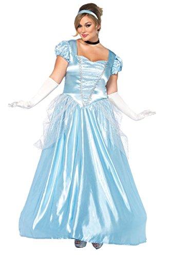Leg Avenue Women's Plus Size Classic Cinderella Princess Costume, Blue, 3X-4X
