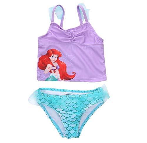 (Toddler Girls Mermaid Sequined Swimsuit,Strap Tank Vest+Fish Scale Net Bottoms Shorts 2 Pcs Sun-wear Bikini Bathing Suit (Purple+Green, 2-3T))