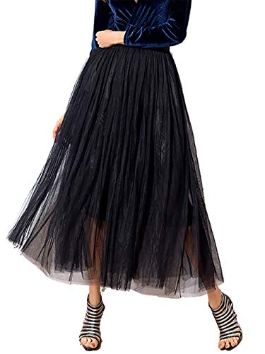 Beluring Casual Summer Black Maxi Tulle Skirts for