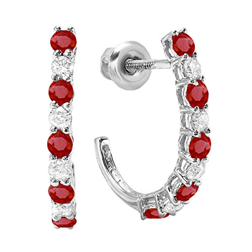 Dazzlingrock Collection 14K Round Ruby & White Diamond Ladies J Shaped Hoop Earrings, White ()