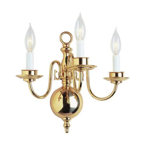 Trans Globe Mission Indoor Polished Brass 3-Light Wall Sconce 1003-1PB