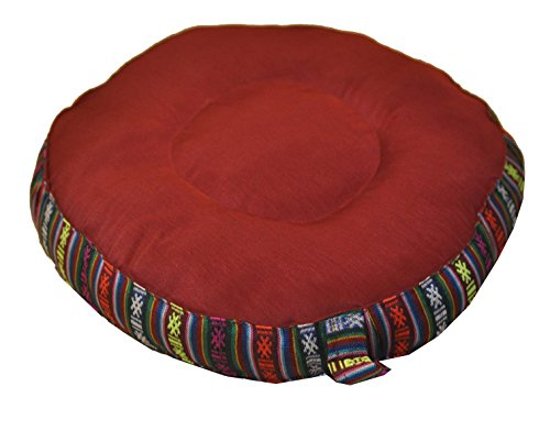 Mandala Crafts® Round Traditional Tibetan Zafu, Yoga Cushion, Meditation Cushion (Maroon)