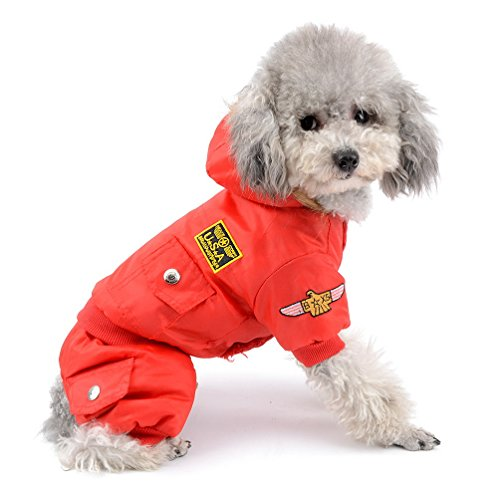 (SELMAI Waterproof Fleece Lined Dog Winter Coat Snow Suit Airman Hooded Jumpsuit Snowsuits for Small Dog Puppy Chihuahua Red L)