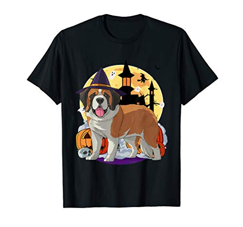 Saint Bernard Puppy Halloween (Happy Halloween Saint Bernard Pumpkin Witch Hat )