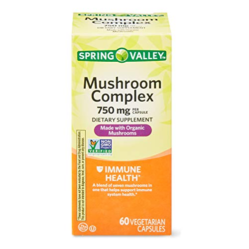 Spring Valley Mushroom Complex 750 mg Immune Health, 60 Capsules (Pack of 2)