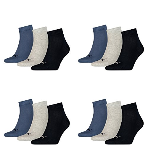 12 pair Puma Sneaker Quarter Socks Unisex Mens & Ladies 532 - navy/grey/nightshadow b