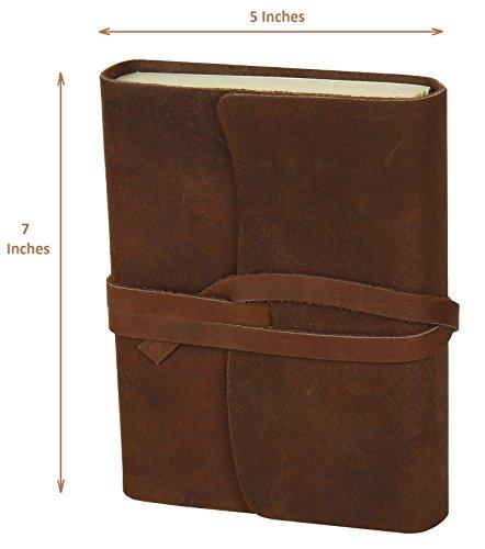 [Handmade Medium Vintage Leather Journal Diary Men Women Gift for Him Her] (Brown Leather Journal)