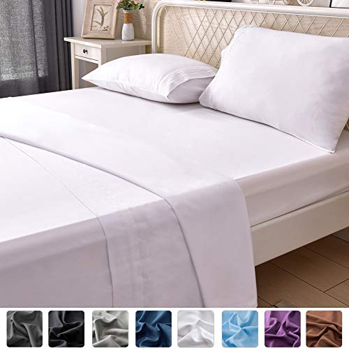 LIANLAM Full Bed Sheets Set - Super Soft Brushed Microfiber 1800 Thread Count - Breathable Luxury Egyptian Sheets 16-Inch Deep Pocket - Wrinkle and Hypoallergenic-4 Piece(Full, White)