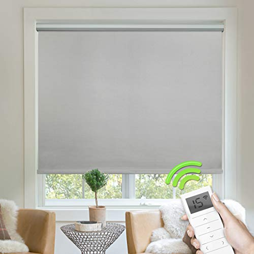 Yoolax Fabric Motorized Window Roller Shades Remote Control Heat Insulation Blinds Rechargeable Blackout Home Soft Material Shades Customized Size (Light Grey)