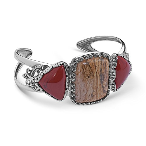 - American West Sterling Silver Red Coral and Picture Jasper Gemstone Cuff Bracelet Size Large