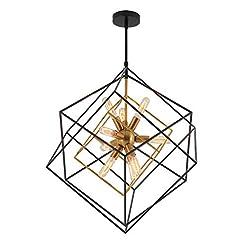Interior Lighting Artika Imperium Mid Century Light Fixture 9-Light Chandelier 25W, Aged Brass Finish with Black Accents modern ceiling light fixtures